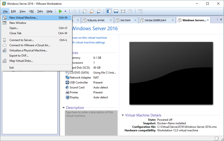 Creating a new virtual machine in VMware Workstation