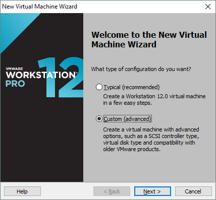 Selecting custom configuration for the new VM in VMware Workstation