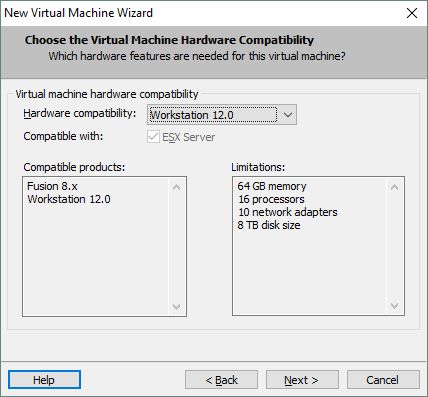 Configuring the new virtual machine's hardware compatibility