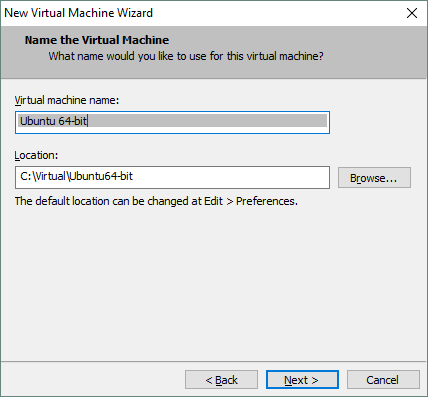 Setting the new VM's name and location