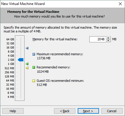Configuring memory for the VM