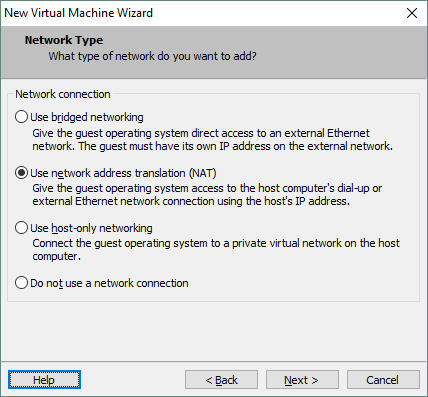 Configuring VM network connection type