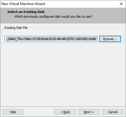Selecting the exported virtual disk