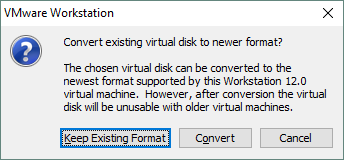 Opting out of virtual disk format conversion