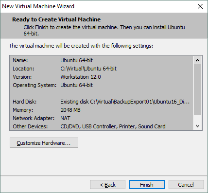 Checking the virtual machine creation summary