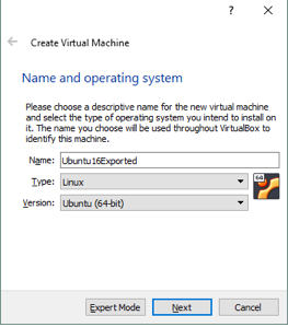 Setting the VM name and guest OS type