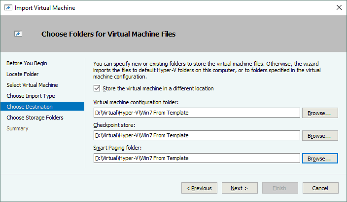 Choose folders for virtual machine files during cloning a VM from a Hyper-V VM template.