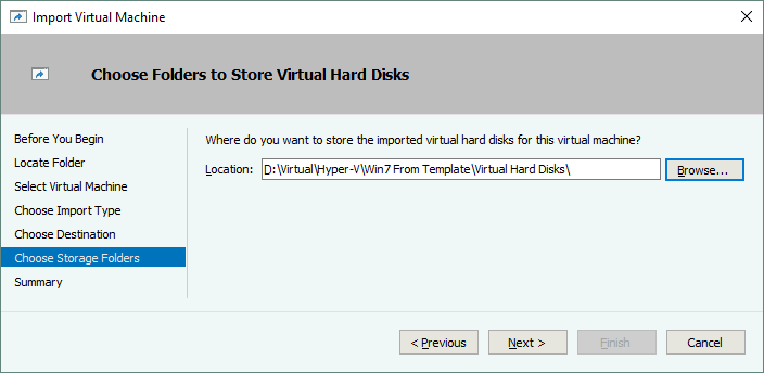 Choosing folders to store the virtual hard disks of a VM clone created from a Hyper-V VM template