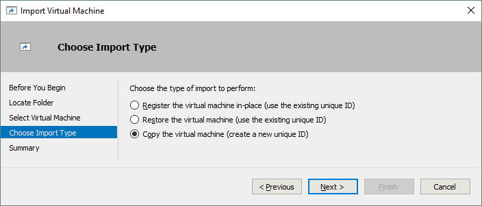 Choosing the VM import type during cloning a VM from a Hyper-V VM template.
