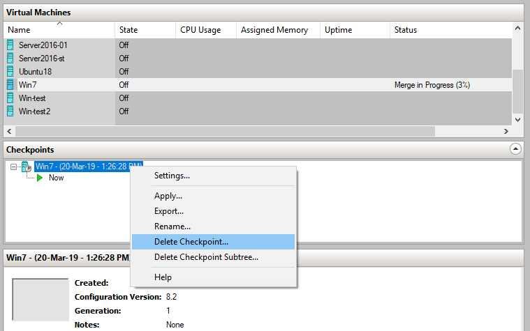 Deleting checkpoints before creating a Hyper-V VM template