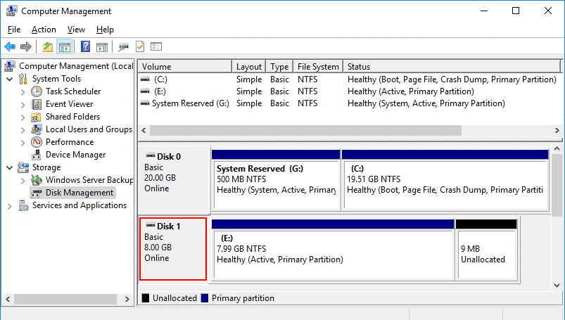 A virtual disk is attached to the healthy Windows VM and a partition is mounted successfully