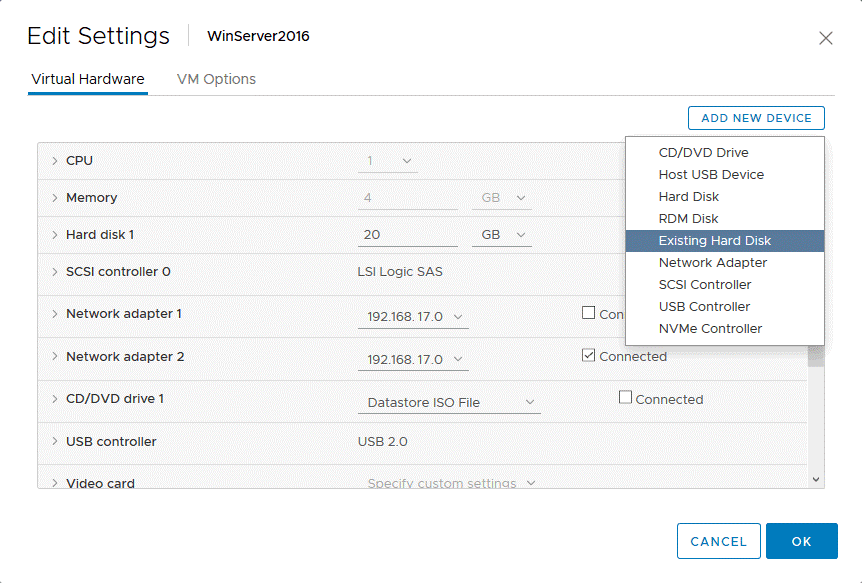 Adding a virtual disk to the healthy VM in vCenter