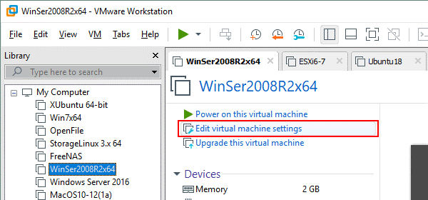 Editing VM settings in VMware Workstation to open vmdk files of the ESXi format