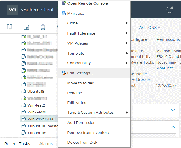 Editing settings of a VM to mount a vmdk file of the dead VM