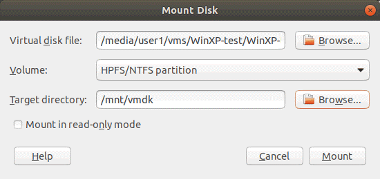 Everything is ready to mount a VMDK virtual disk on the Linux host machine