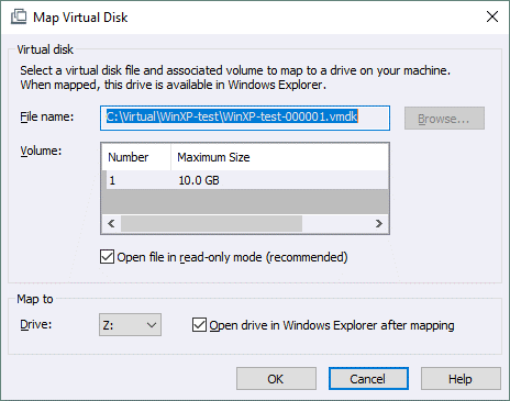 Mapping a virtual disk (vmdk file) in Windows with VMware Workstation