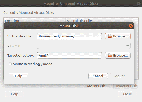 Mounting a VMDK file as a virtual disk to a Linux host machine by using VMware Workstation