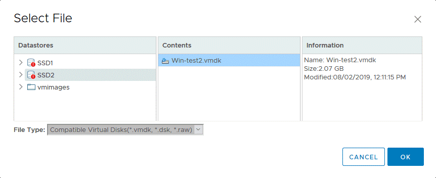 Opening a vmdk file by attaching a virtual disk to the ESXi VM