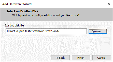 Selecting the VMDK file which is a descriptor of the virtual disk of the ESXi format to add the virtual disk to a VM.