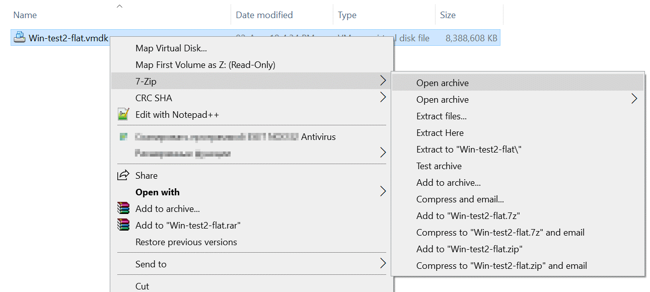 Using 7-zip to extract content from the vmdk file in Windows