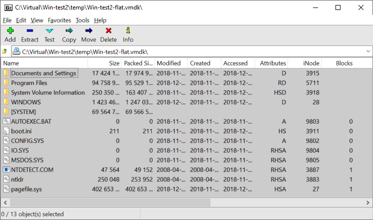 Viewing content of the virtual disk (flat vmdk file) by using 7-zip in Windows